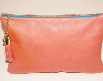 Peach Large Leather Clutch with Tassel