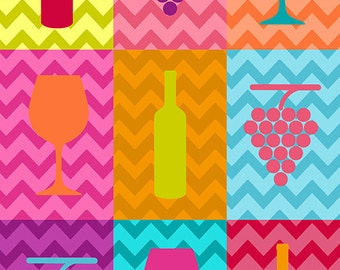 Wine Icons Pop Art (Art Prints available in multiple sizes)