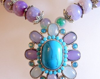 Purple Dragon's Vein Agate Necklace With Blue And Purple Vintage Pendant