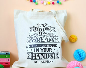 Neil Gaiman Tote Bag. Neil Gaiman Quote. Book Bag. Book Lover. Book Worm. Book Geek. Book Nerd. Literary Gifts. Book Quote Bag. Gaiman Tote