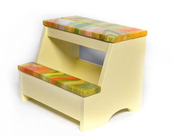 Wood Step Stool - Abstract Yellow/Green/Orange Combo