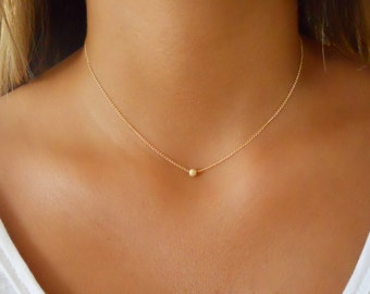 Minimal Gold Necklace, Stardust Bead Necklace, 14K Gold filled Necklace,  Layering Necklace, Gold Bead Necklace, Layered Gold Necklace