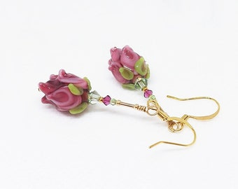 Rose Earrings, Pink Flower Earrings, Glass Bead Rose Earrings, Rose Dangle Earrings, Spring Earrings Gift for her