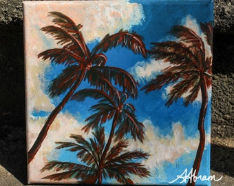 Palm trees and clouds original acrylic painting