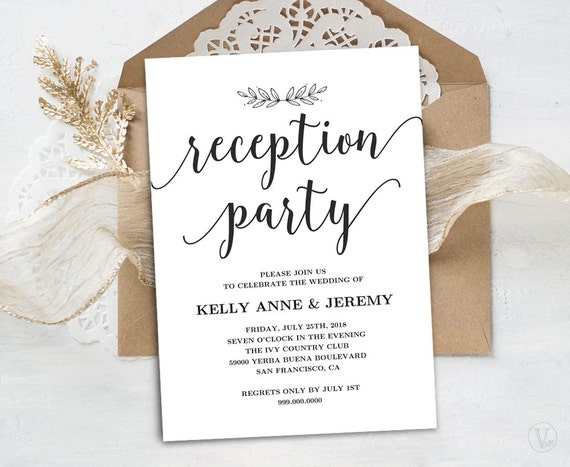 wedding reception only invitations wedding reception invitation printable reception card 9905
