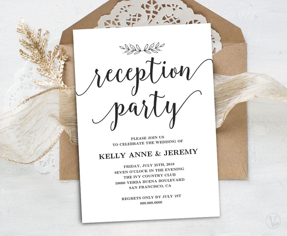 Invitation Cards For Wedding: Wedding Reception Invitation Printable Reception Party Card