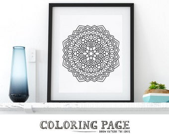 Coloring Page Geometric Mandala Printable Adult Coloring Pages AntiStress Art Therapy Instant Download Zen Coloring Book Printable Wall Art