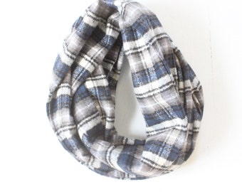 Infinity Scarf - Plaid - Flannel - Oversized - Dark Blue, Grey, White, and Black - Warm - Winter- Cozy - Unisex