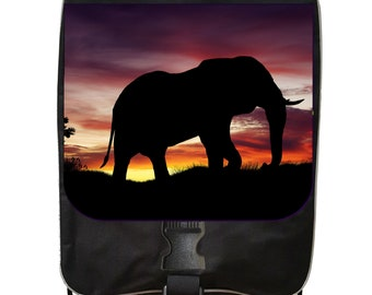 Elephant Sunset Silhouette - Black School Backpack