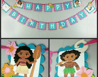 Moana Inspired Happy Birthday Banner