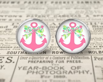 Personalized Lilly Pulitzer Inspired Bow and Anchor Earrings, Lilly  Earrings, Pink Lemonade Earrings, Anchor and Bow Earrings