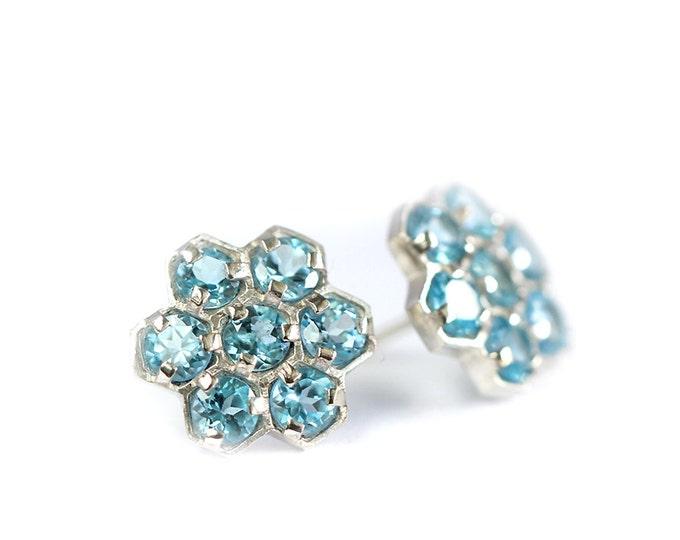 Earrings gemstones clusters - swiss blu topaz - silver 925 - geometric pattern earrings - swiss blu topaz jewelry