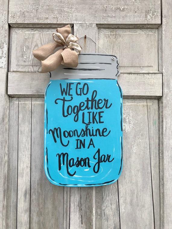 Mason jar door hanger, Welcome Y'all sign, moonshine door hanger,  Summer door hanger, Mason jar welcome sign, moonshine mason jar hanger