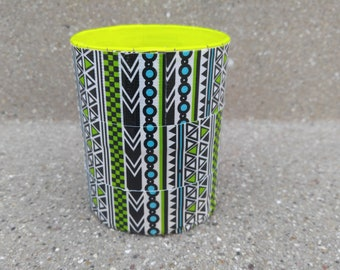 Blue and Green Tribal Duct Tape Pen/Pencil Holder