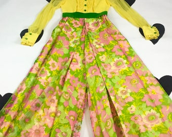 70's psychedelic tuxedo ruffle palazzo jumpsuit gown 1970's neon floral ruffled silk chiffon velvet party prom wide leg jumpsuit dress / XS
