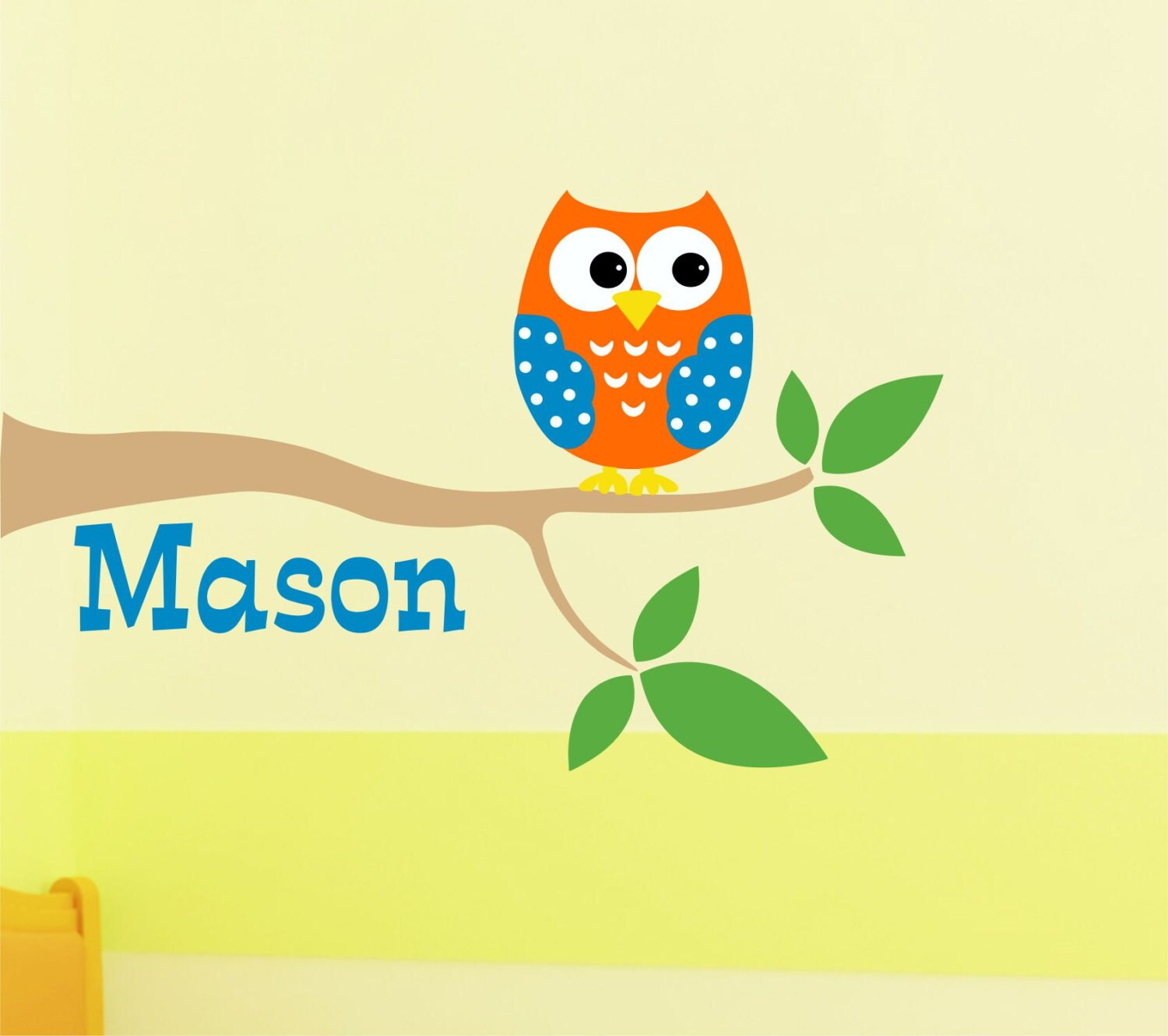 Custom Boys Name With Owl On Tree Wall Decal // Owl Tree Decal ...