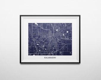 Kalamazoo, Michigan Abstract Street Map Print