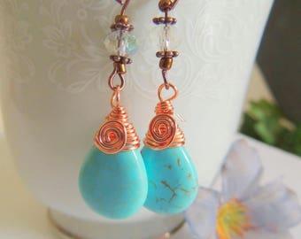 Turquoise Briolette Copper Wire Wrap Earrings