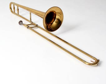 1960s King Cleveland trombone with case, vintage brass instrument