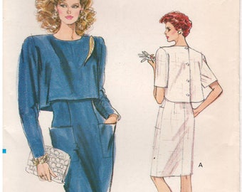 1988 - Vogue 7270 Vintage Sewing Pattern Sizes 6/8/10 Very Easy Dress Semi Fitted Straight Sleeveless Back Button Overlay Petite Pockets