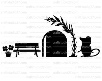 Instant download Mouse with bench digital file SVG PNG DXF