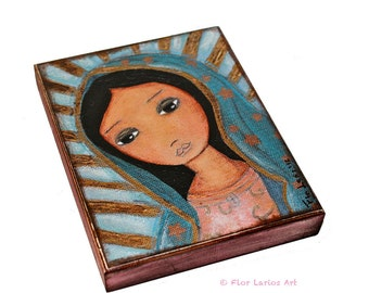Nuestra Señora de Guadalupe -  Giclee print mounted on Wood (4 x 5 inches) Folk Art  by FLOR LARIOS