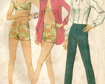 Vintage 60s McCalls 9288 Misses Two Piece Swimsuit with Boy Shorts, Shirt and Tapered Pants Sewing Pattern Size 12 Bust 34