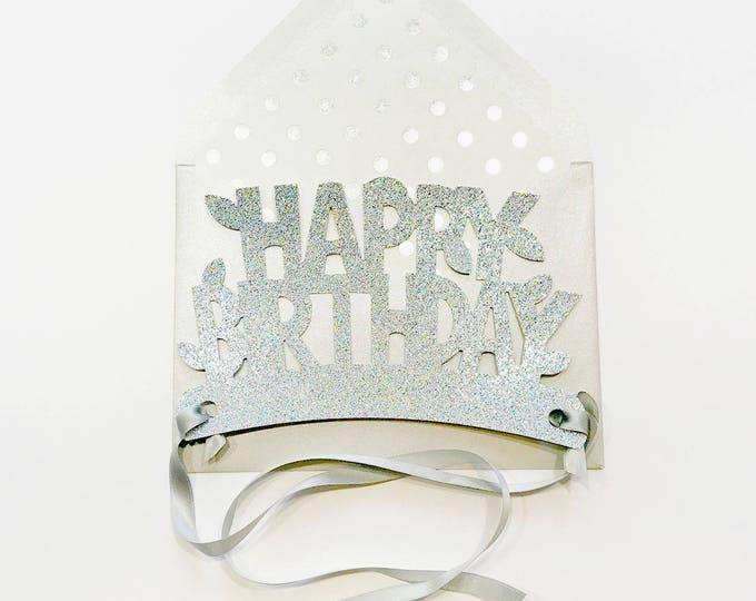 Silver Happy Birthday Glitter Crown Card