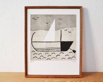 navire 2 · original linogravure · Édition limitée · DIN A4
