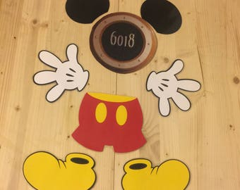 mickey mouse body parts laminated magnet set for stateroom cruise door