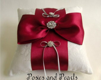 """Off White and Red Ring Bearer Pillow, Ruby Satin Bow, Jacquard Fabric, Rhinestone Crystals, Wedding Ring Cushion, """"Unite"""""""