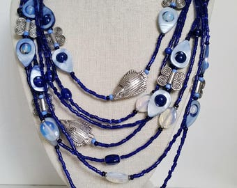 COBALT BLUE MULTISTRAND Beaded Necklace with Fish, Mother-Of-Pearl Discs, Moonstone, Venetian Seed Beads. Blue and Silver Bead Necklace.