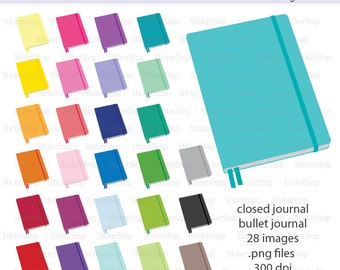 Bullet Journal or Closed Journal Icon Digital Clipart in Rainbow Colors - Instant download PNG files