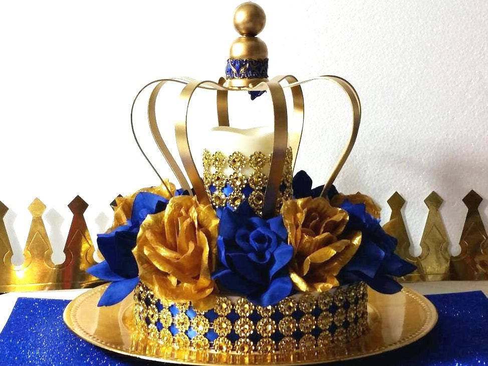 crown royal prince baby shower centerpiece boys royal blue. Black Bedroom Furniture Sets. Home Design Ideas