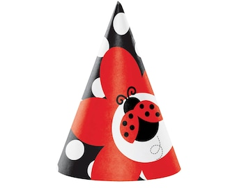 Ladybug Party Hats - Ladybug First Birthday - Ladybug Birthday Decorations - Ladybug Party Favors - First Birthday Supplies - Bug Birthday