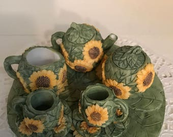 Vintage Minature Sunflower Tea Set Collection by Young's Inc.
