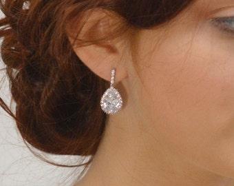 Teardrop Crystal Earrings, Cubic Zirconia Earrings, Wedding Crystal Earrings, Pear Shaped Bridal Earrings, Wedding Earrings, Ref JANETTE