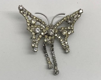 Vintage Figural Clear Rhinestone Butterfly Brooch