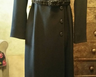 Sophistication, elegance, simplicity and style. Vintage coat - dress for Her Ladyship. Think Princess Kate. Size 2 P. In black.