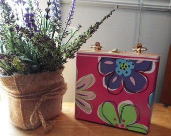 Hand Made Cigar Box Purse Cane Handle Lined Purple Pink Flower Power
