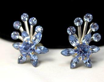 Showy Flower Earrings with Blue Rhinestones, Vintage Earrings