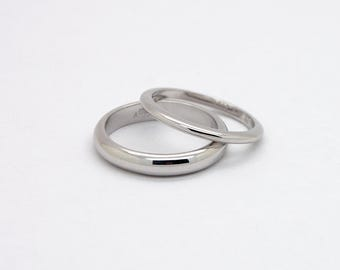 Comfort Fit Wedding Ring Set - 14K Wedding Bands Set - His and Hers Wedding Rings, White Gold Comfortable Rings