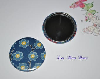 Fabric 59 mm Pocket mirror blue liberty of London Pep