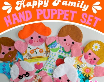 Retro Happy Family Felt Hand Puppet Printable Pattern - PDF with Templates