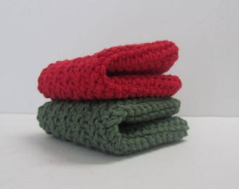 Cotton Washcloths Dishcloths 2 Set~RED and GREEN~