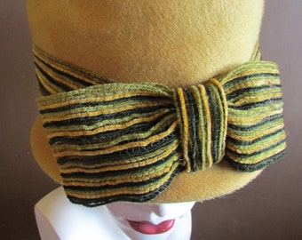 Vintage 1960's Hat Cloche Hat Harvest Gold Wool Felt with Wide Ribbon Band of Stripes in Black, Green & Gold ~ a Glenover Henry Pollak Hat
