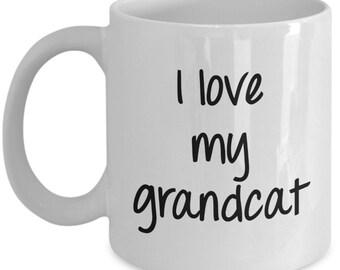 I love my Grandcat Mug - Funny Coffee Cup - Novelty Birthday Gift Idea