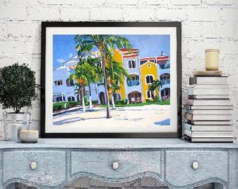 Beach Fine Art Print Aruba 8x10, Tropical Paradise   Tropical Island   Costa Linda Caribbean art. beach Painting by Gwen Meyerson