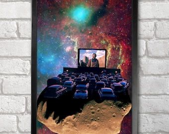 Asteroid Cinema print + 3 for 2 offer! size A3+  33 x 48 cm;  13 x 19 in, Space Collages