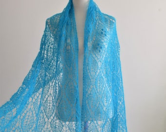 Beautiful rectangular lace shawl, knitted in mohair on silk